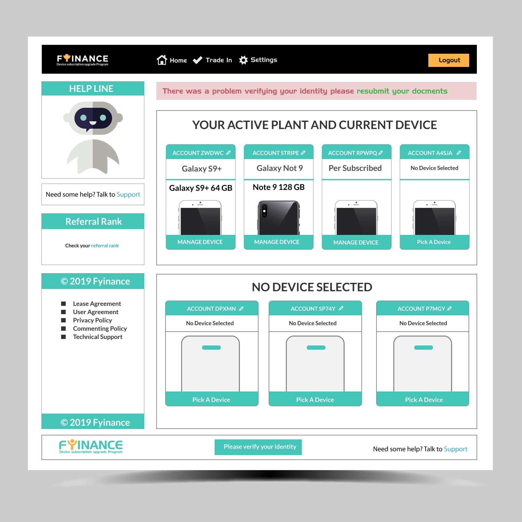 UX/UI Design for fyinance dashboard