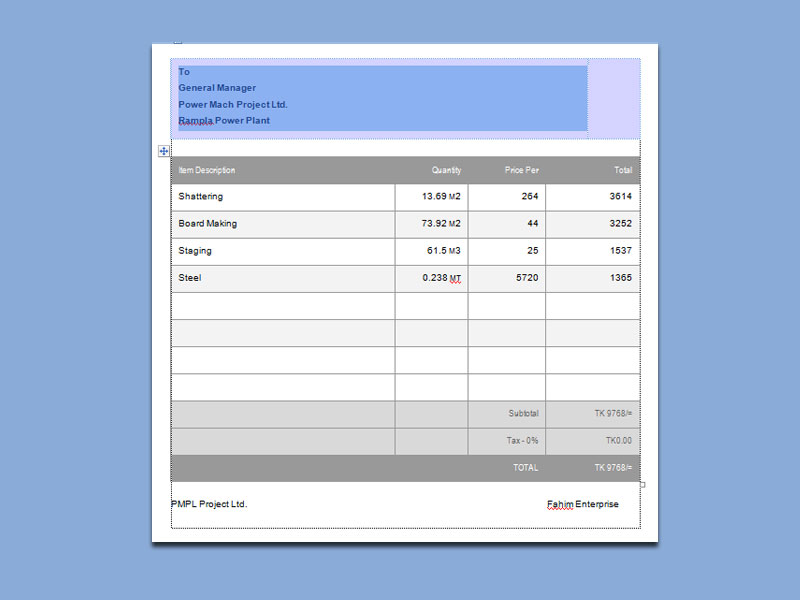 Invoice To General Manager